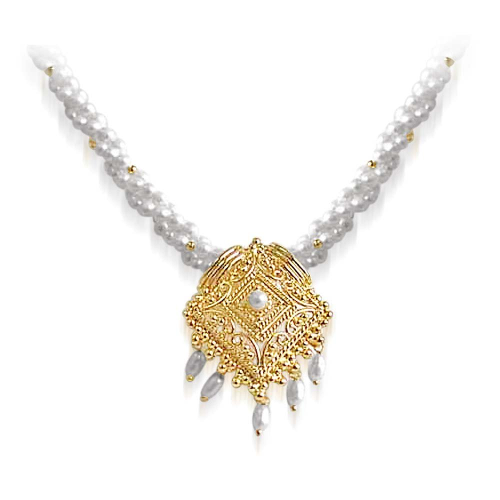 Tantalizing Beauty - Gold Plated Temple Design Pendant & 3 Line Twisted Rice Pearl & Gold Plated Beads Pendant Necklace for Women (SNP18)