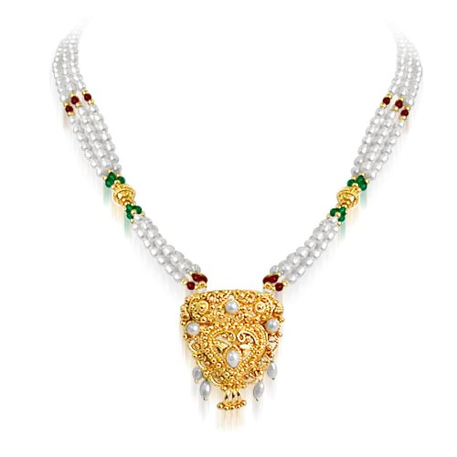 Elegance - Gold Plated Temple Design Pendant & 3 Line Rice Pearl, Green Onyx & Garnet Beads Pendant Necklace for Women (SNP19)