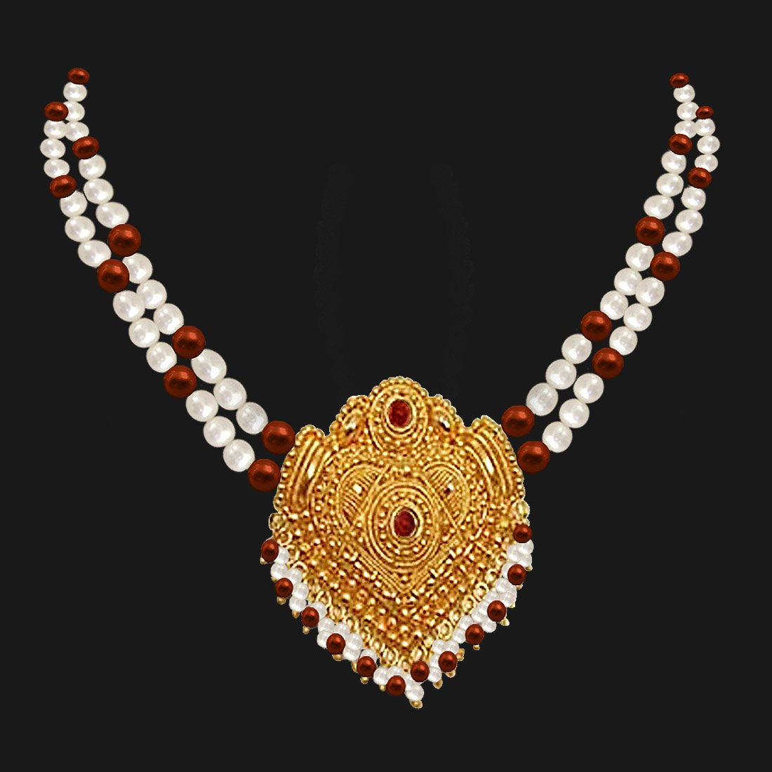 Ornate Beauty - Gold Plated Temple Design Pendant & 2 Line Freshwater Pearl & Tiger Eye Beads Necklace for Women (SNP2)