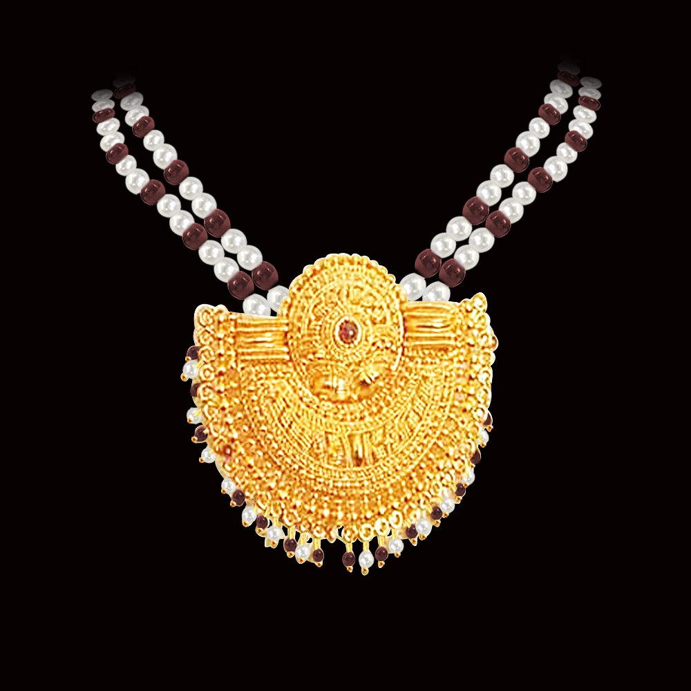 Extraordinary Love - Gold Plated Temple Design Pendant & 3 Line Freshwater Pearl & Garnet Beads Necklace for Women (SNP3)