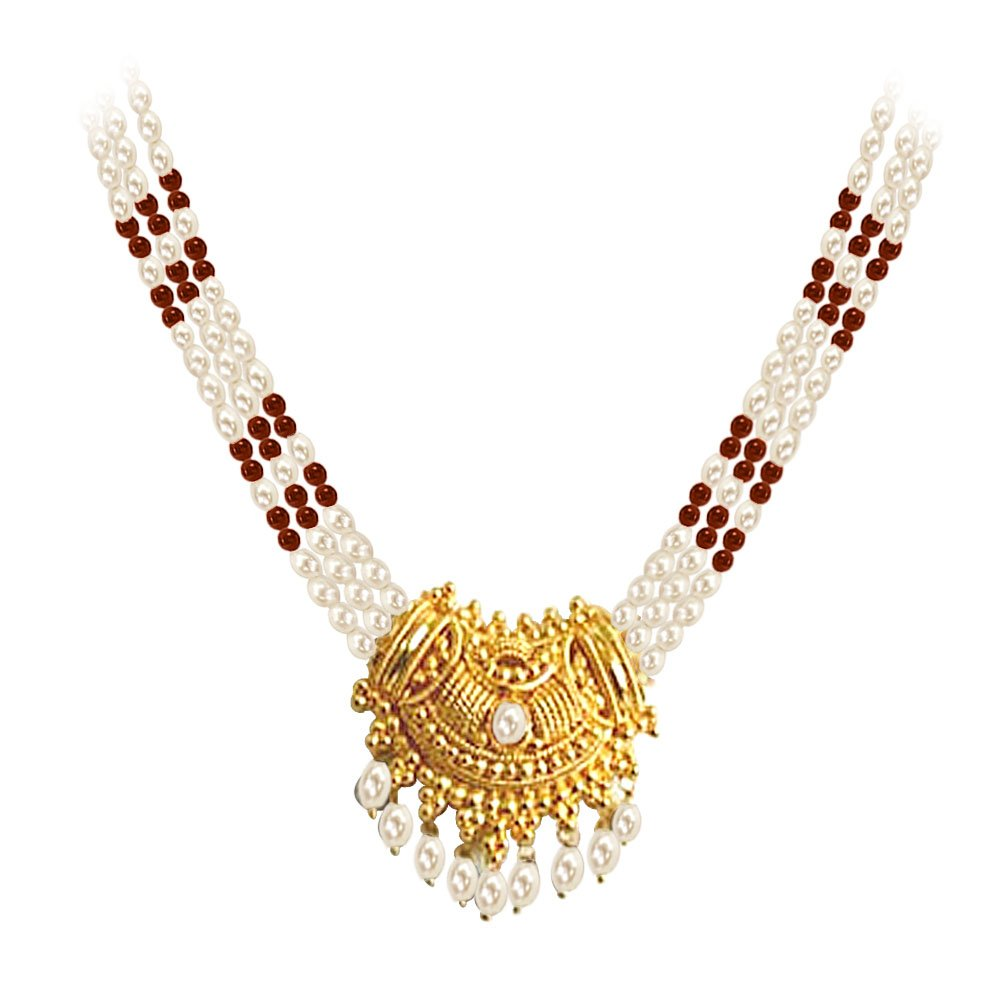 Gold Plated Temple Design Pendant & 3 Line Rice Pearl & Garnet Beads Necklace for Women (SNP4A)