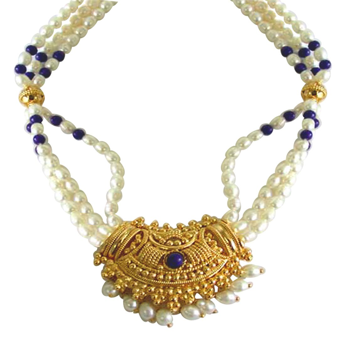 Gold Plated Temple Design Pendant, 3 Line Rice Pearl & Blue Lapiz Beads Pendant Necklace for Women (SNP4B)