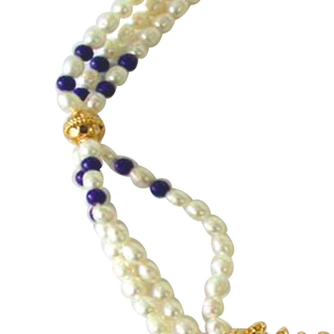 Gold Plated Temple Design Pendant, 3 Line Rice Pearl & Blue Lapiz Beads Pendant Necklace for Women (SNP4B)