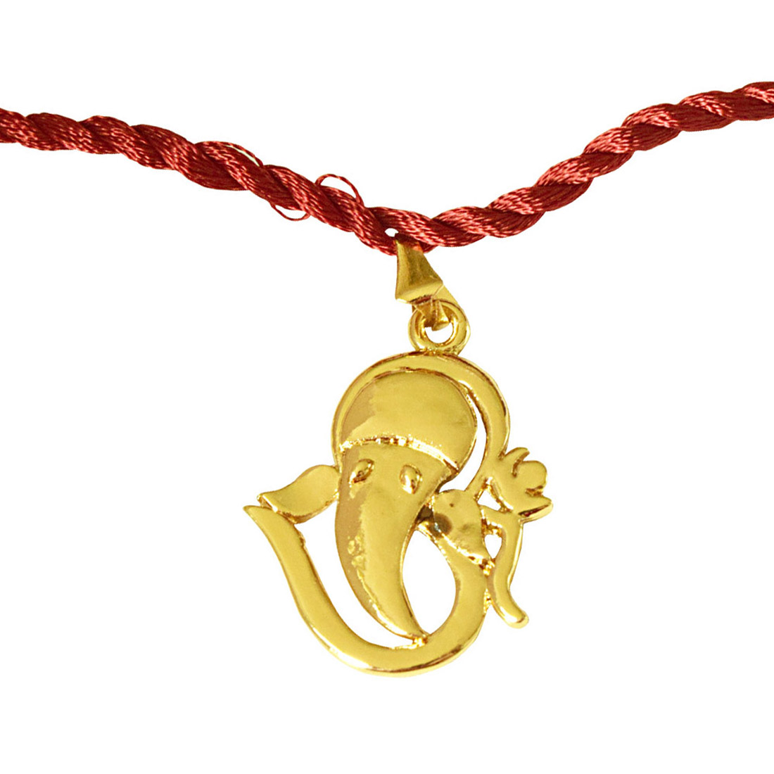 Om Ganesh Gold Plated Religious Rakhi for Brothers (SNSH11)