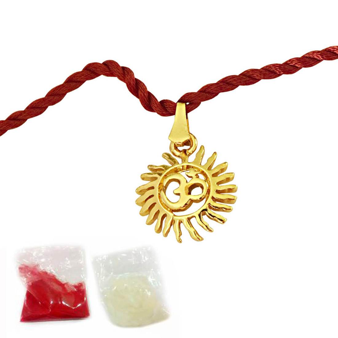 Sun Filled Rays Om Gold Plated Religious Rakhi for Brothers (SNSH7)