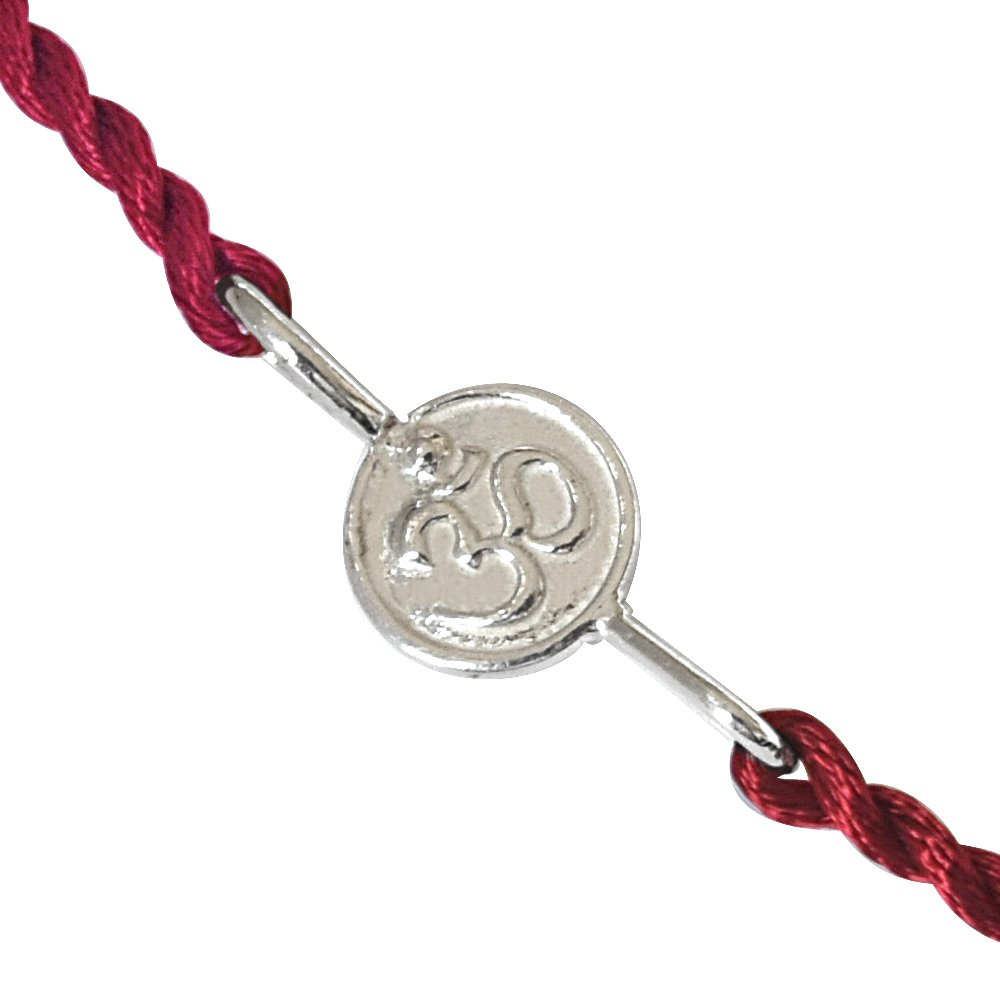 OM Shaped Sterling Silver Rakhi for Brothers (SNSR1)