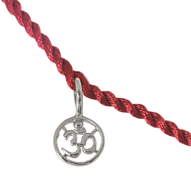 Delicate OM Shaped Sterling Silver Rakhi for Brothers SNSR11