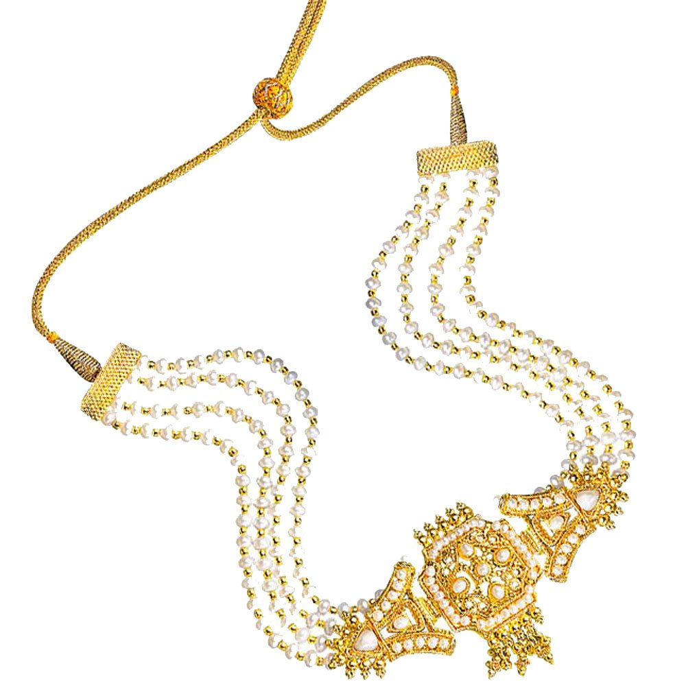 Glitz - Gold Plated Pendant & 4 Line Real Freshwater Pearl Choker Necklace for Women (SP119)