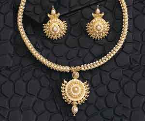 Fine Pearl Delight - Round Shaped Gold Plated Pendant & Rice Pearl Necklace & Earring Set for Women (SP121)