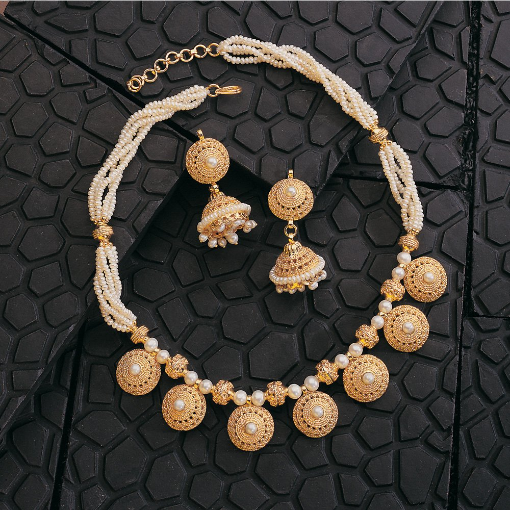 Pure Pleasure - Round Shaped Vati Style Gold Plated Pendants & Freshwater Pearl Choker Necklace & Earring Set for Women (SP125)