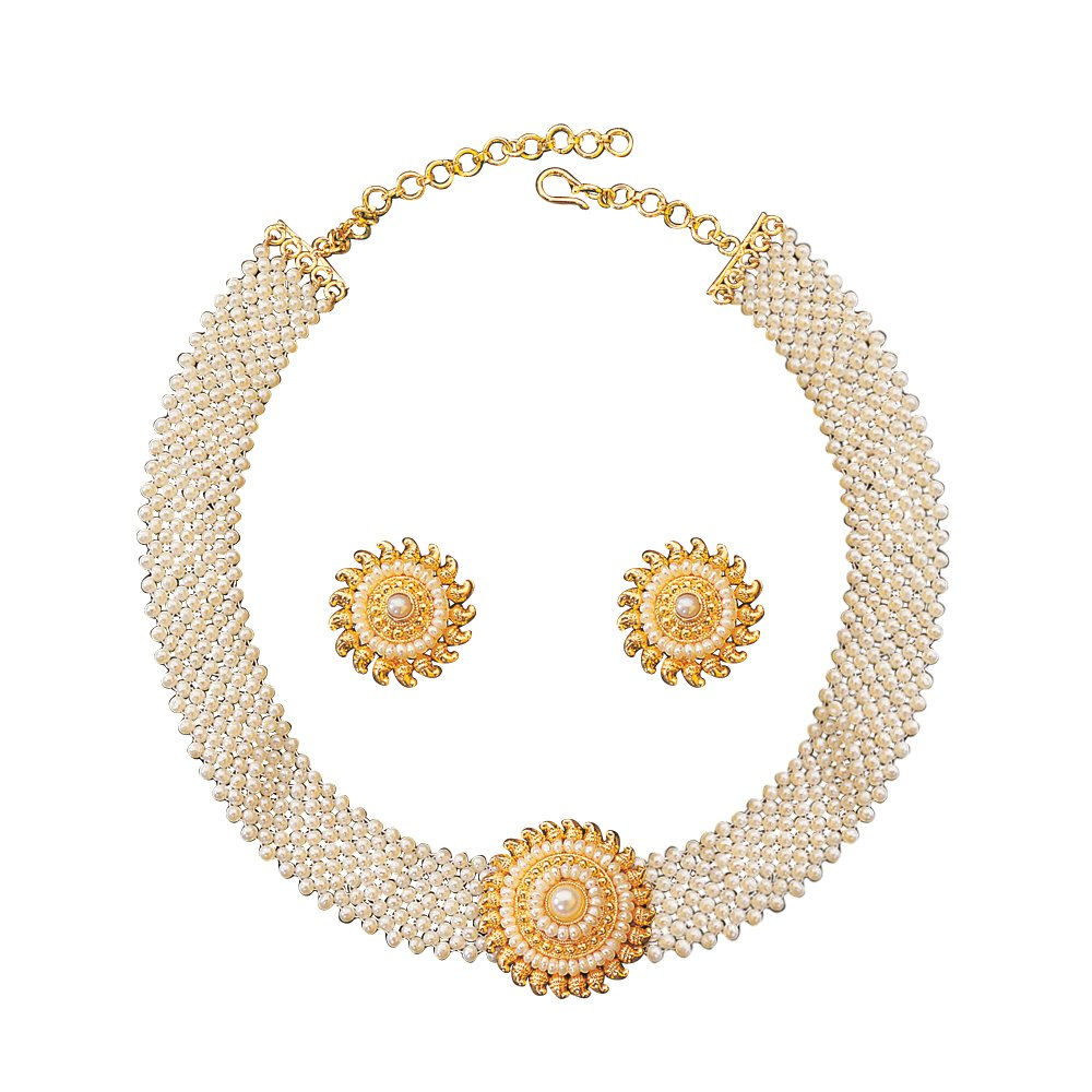 Pretty Woman Set - Round Shaped Gold Plated Pendant & Freshwater Pearl Jali Style Choker Necklace & Earring Set for Women (SP126)
