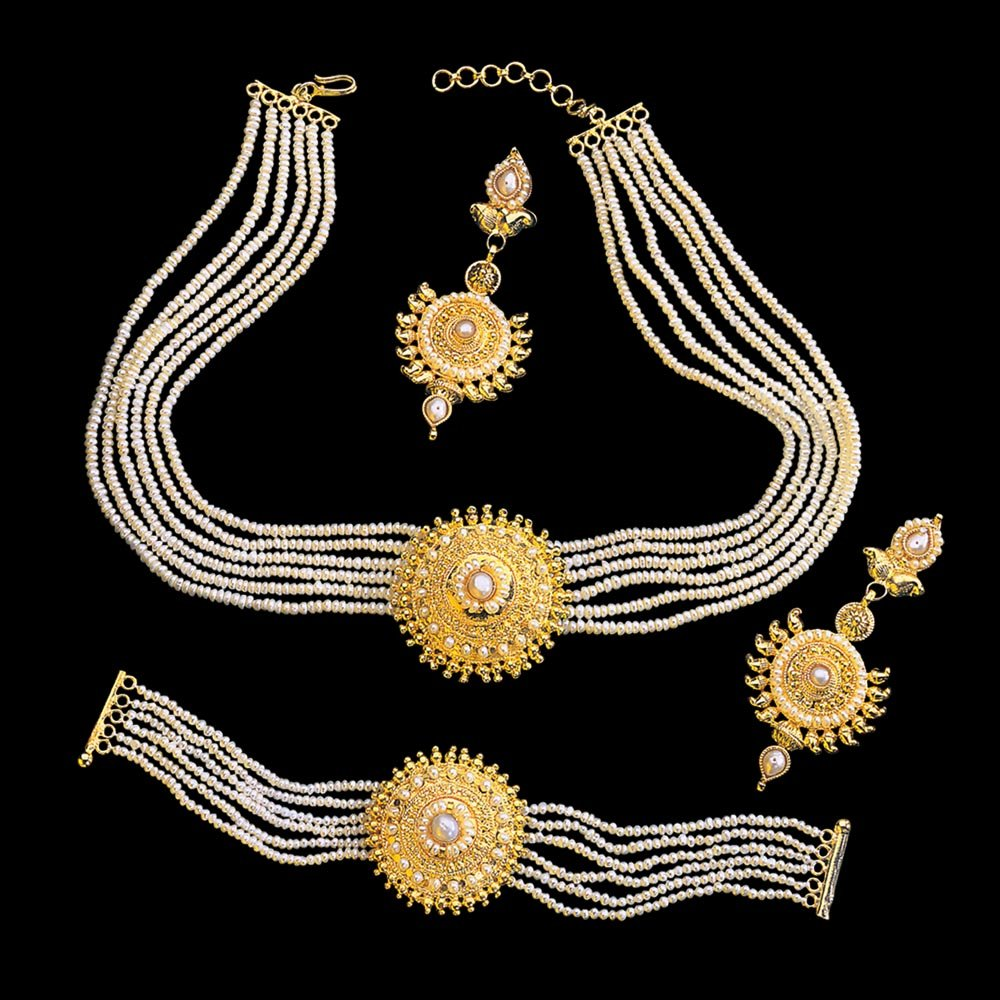 Shringar Special - Traditional Round Shaped Real Freshwater Pearl & Gold Plated Pendant Necklace, Bracelet & Earring Set for Women (SP127)