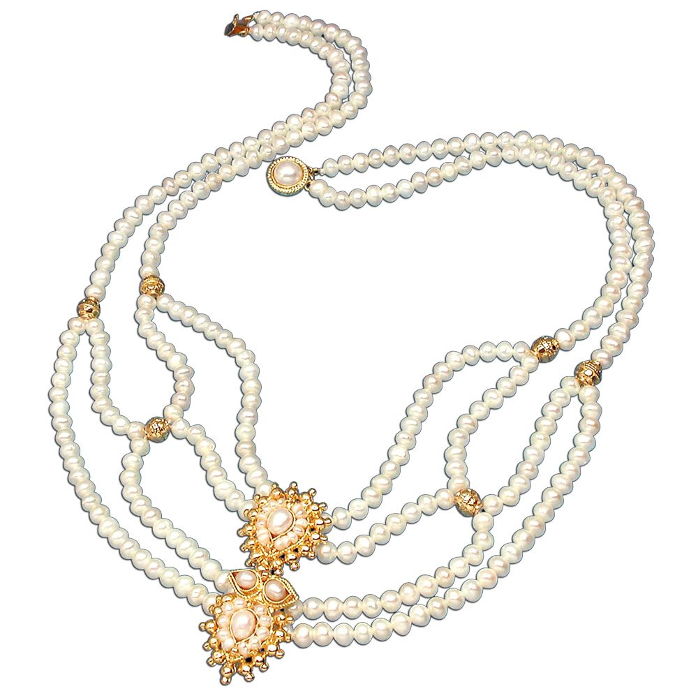 Poise - Gold Plated Pendant & Real Freshwater Pearl Necklace for Women (SP225)