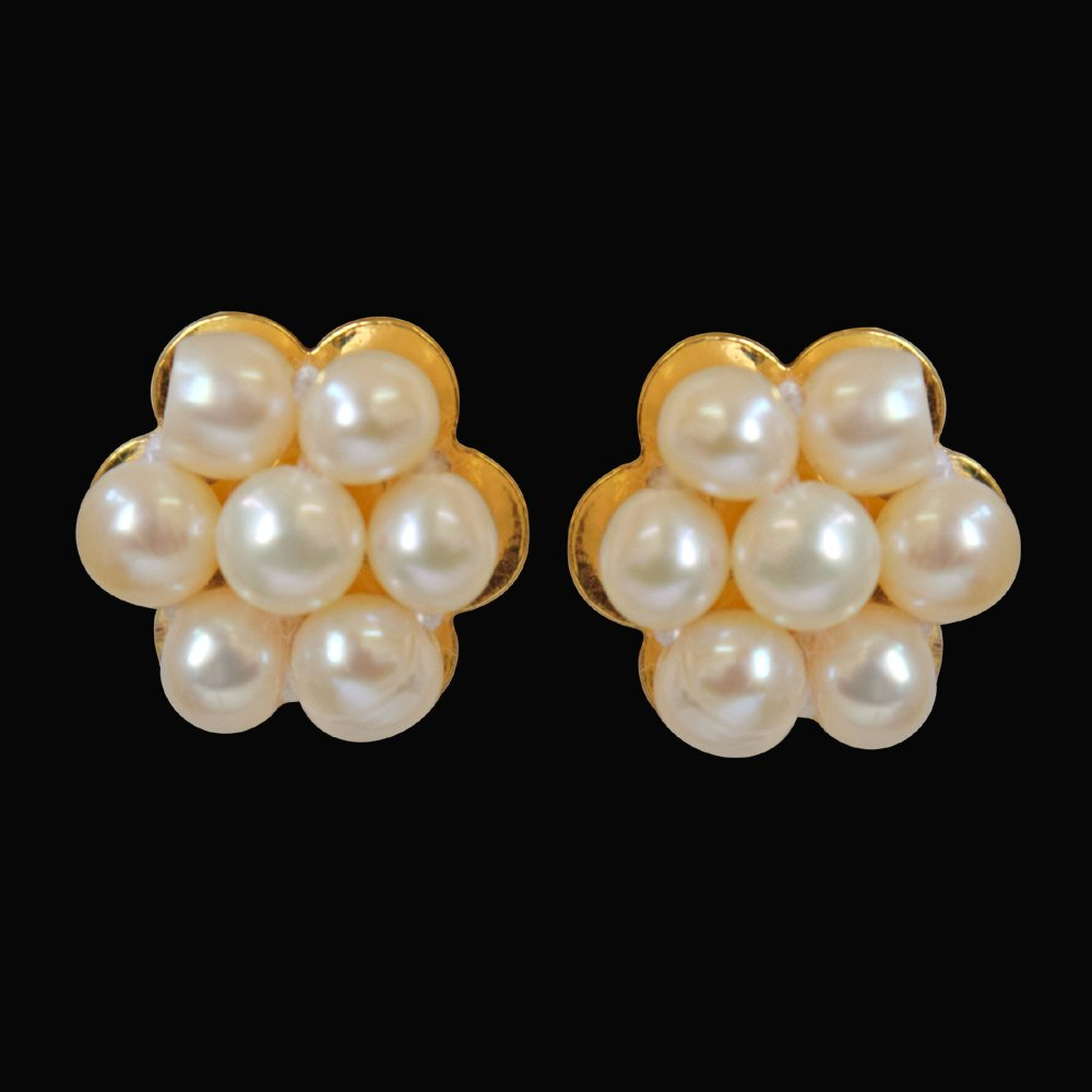 Traditional Real Freshwater Pearl & Gold Plated Kuda Jodi Earrings for Women (SP296)