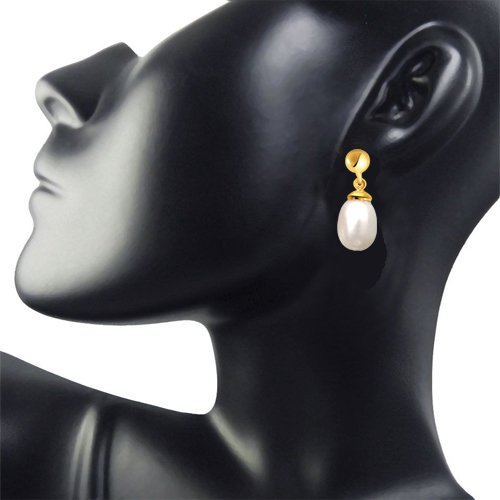 Drop Shape Real Pearl & Silver Gold Plated Hanging Earrings for Women (SP370)