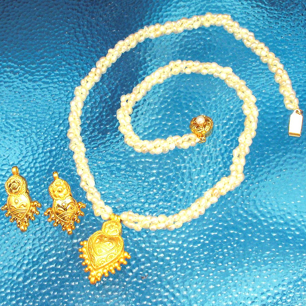 Pearl Divine Grace - Gold Plated Pendant & 3 Line Twisted Pearl Necklace & Earring Set for Women (SP378)