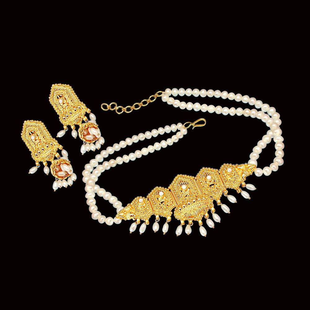 Sparkling Beauty - Big Gold Plated Pendant & 2 Line Freshwater Pearl Choker Necklace & Earring Set for Women (SP379)