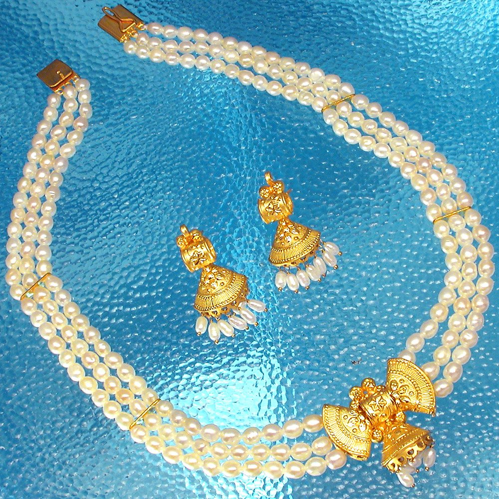 Passion - Bow shaped Gold Plated Pendant & 3 Line Freshwater Pearl Necklace & Earring Set for Women (SP380)
