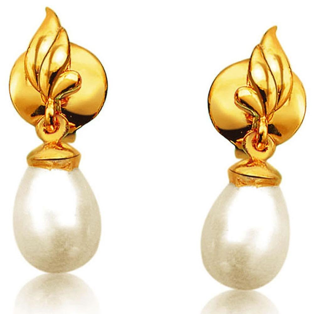 Fire Flame Designed Drop Shape Real Pearl & Silver Gold Plated Earrings for Women (SP382ER)