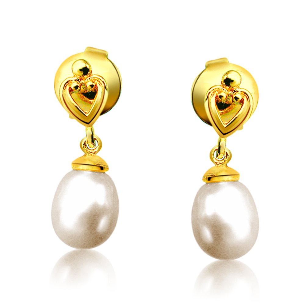 Lovable Pearly Pair - Heart Designed Drop Shape Real Pearl & Silver Gold Plated Hanging Earrings for Women (SP383ER)