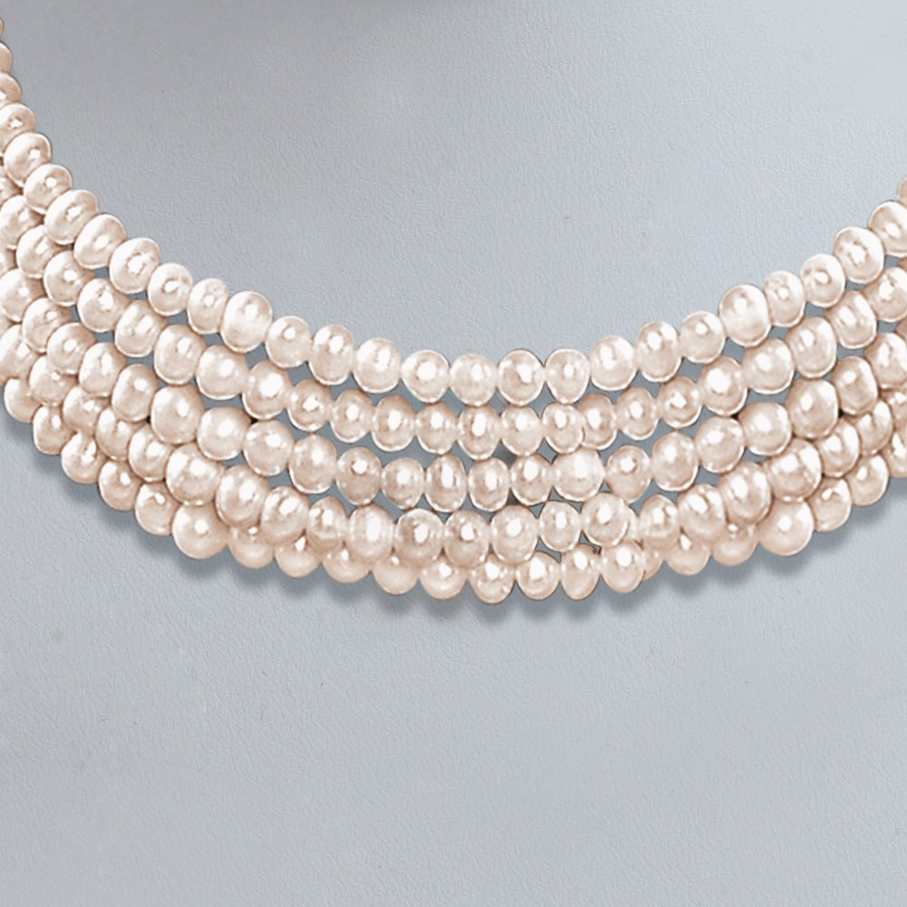 Heaven - 5 Line Real Freshwater Pearl Choker Necklace for Women (SP77)