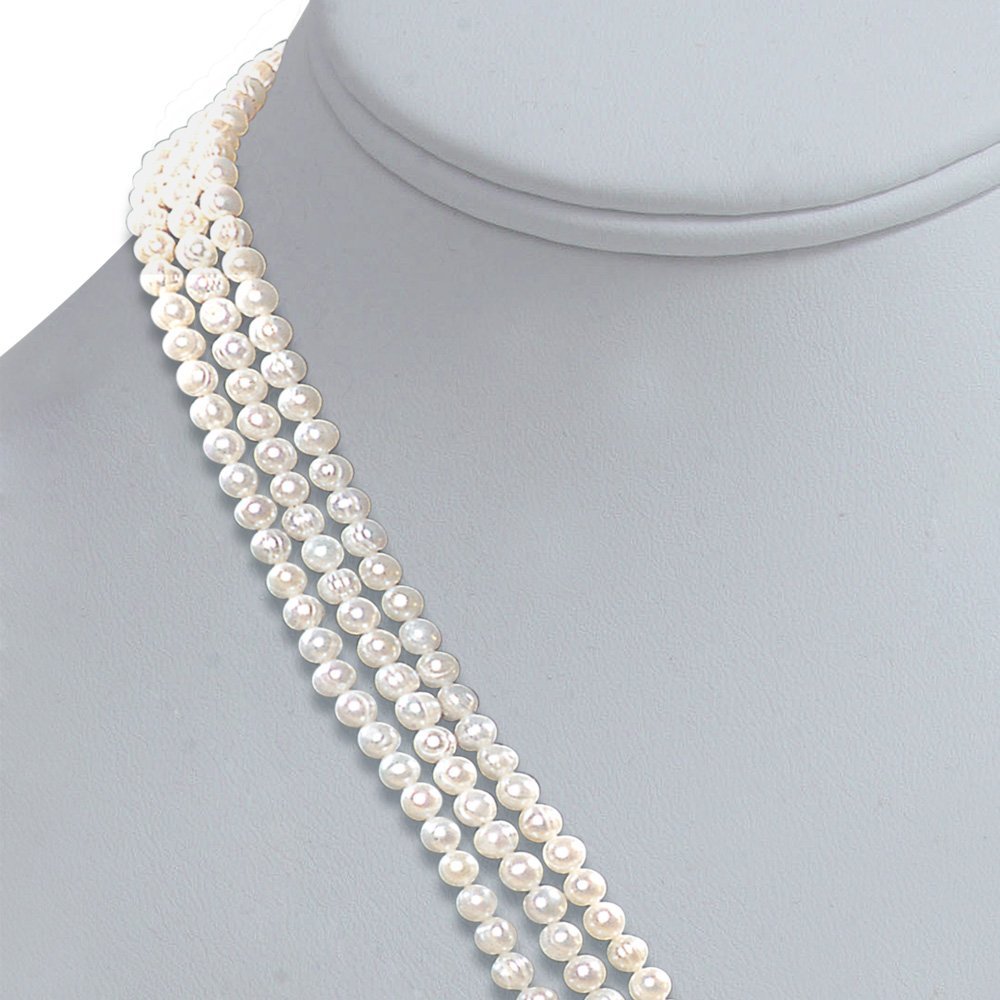 Real Pearl Melody of life - 3 Line Real Freshwater Pearl Necklace for Women (SP78)