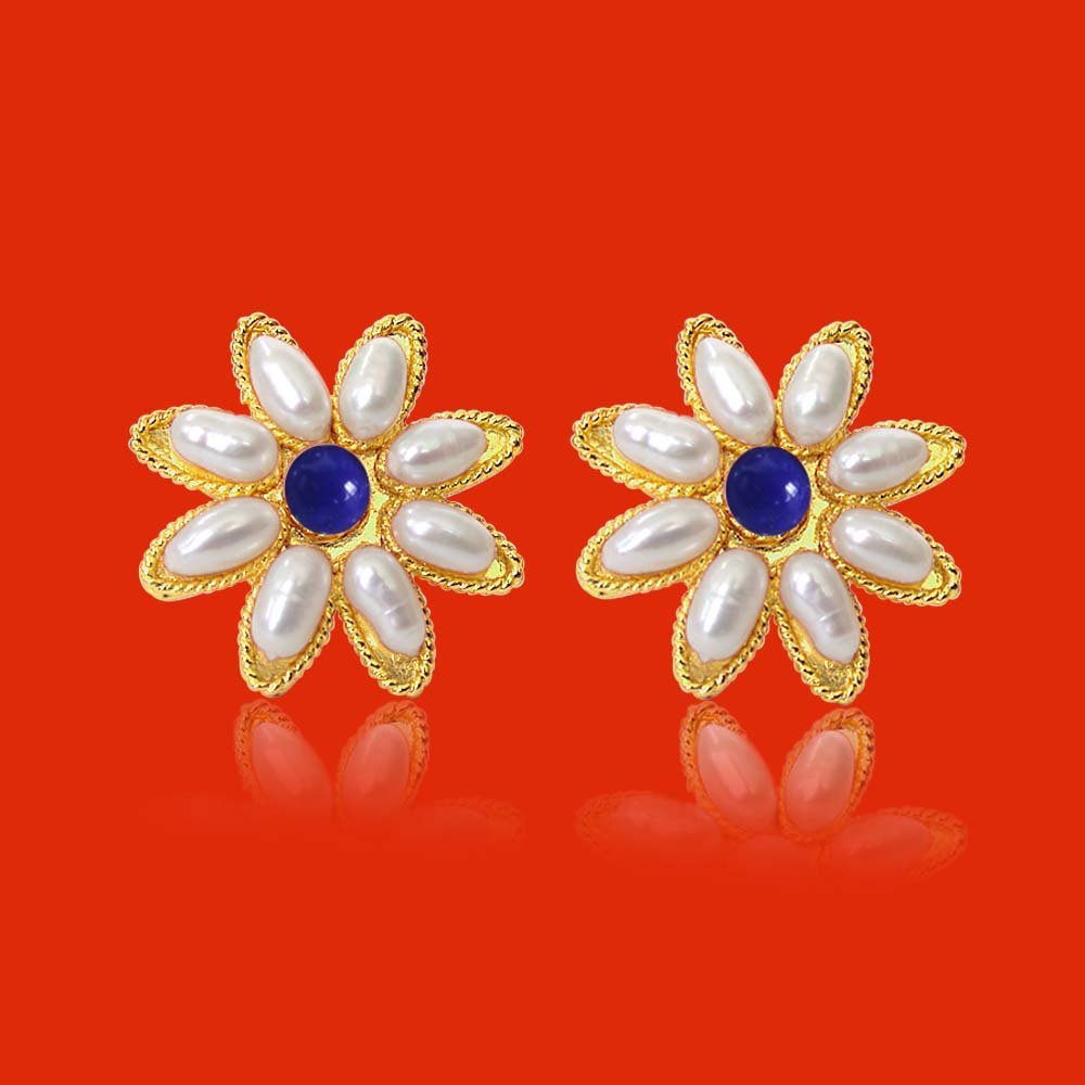 Star Shaped Rice Pearl & Blue Lapiz Beads Earring for Women (SP83ER)