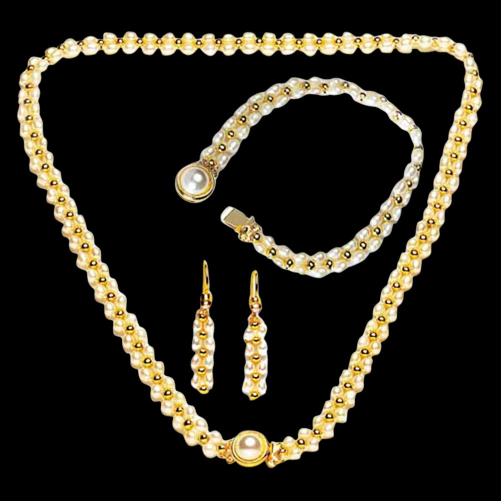 Hypnotize - Real Freshwater Pearl & Gold Plated Beads Necklace, Bracelet & Earring Set for Women (SP84)