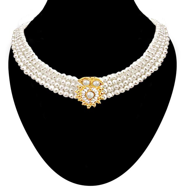 Real Pearl Splendour - Gold Plated Pendant & 3 Line Freshwater Pearl Necklace for Women (SP90)