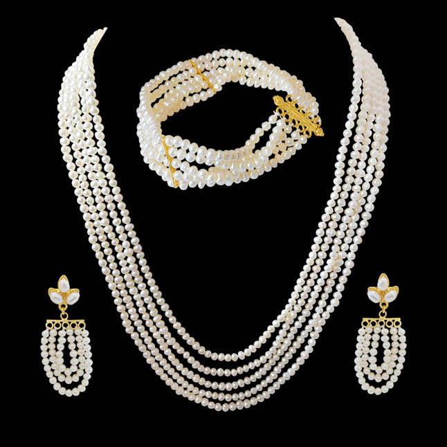 Charming Beauty - Real Freshwater Pearl Necklace, Bracelet & Earring Set for Women (SP91)