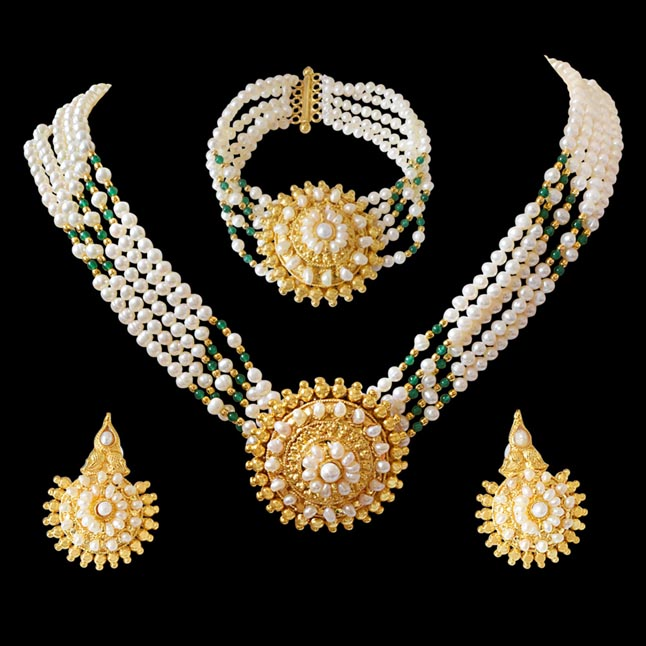 Pearl Femininity - Real Freshwater Pearl & Green Onyx Necklace, Bracelet & Earring Set for Women (SP92)