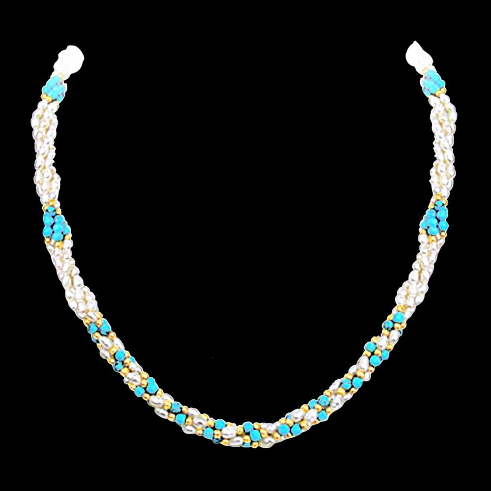 Splendid Perfection - 3 Line Twisted Real Rice Pearl & Turquoise Beads Necklace, Earring & Bracelet Set for Women (SP99)