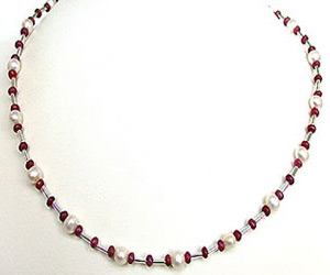 Shimmering Charms - Single Line Real Pearl, Red Ruby Beads & Silver Plated Pipe Necklace (SN156)