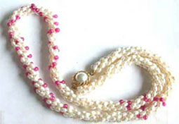 Splendid - 3 Line Twisted Real Pearl & Red Onyx Necklace (SN15)