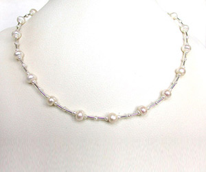 Sunrise - Real Freshwater Pearl Necklace with Silver Plated Pipe (SN153)