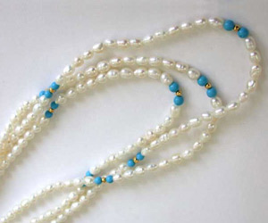 Wish - 3 Line Real Pearl & Round Blue Turquoise Beads Necklace (SN28)