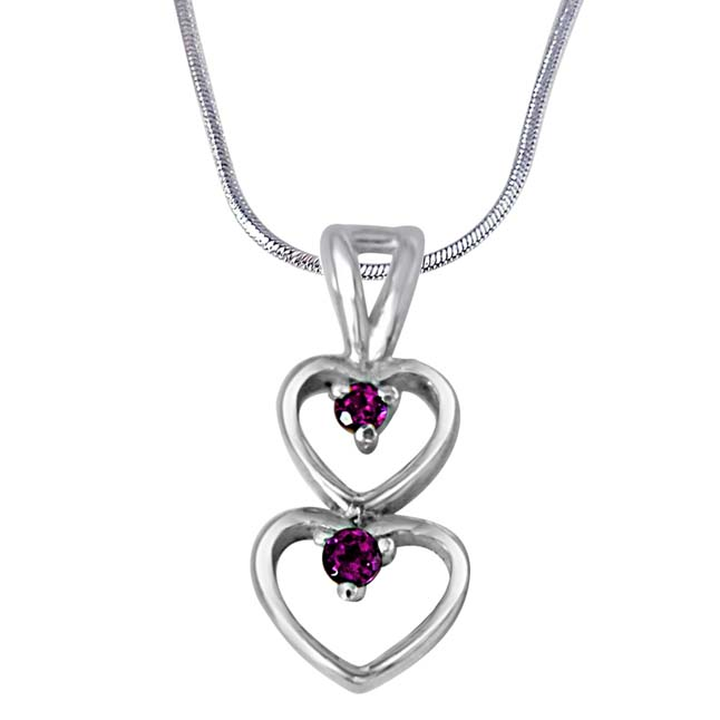 "A Double Blessing Pink Rhodolite & 925 Sterling Silver Pendants with 18"" Chain"