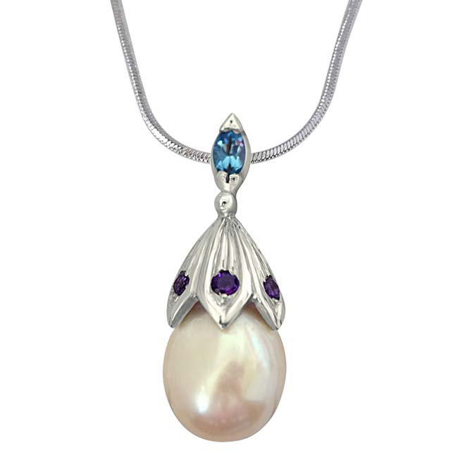 A Drop of Love - Big Lustrous Drop Pearl & Silver Pendant with 18 IN Chain for Women (SDS234)