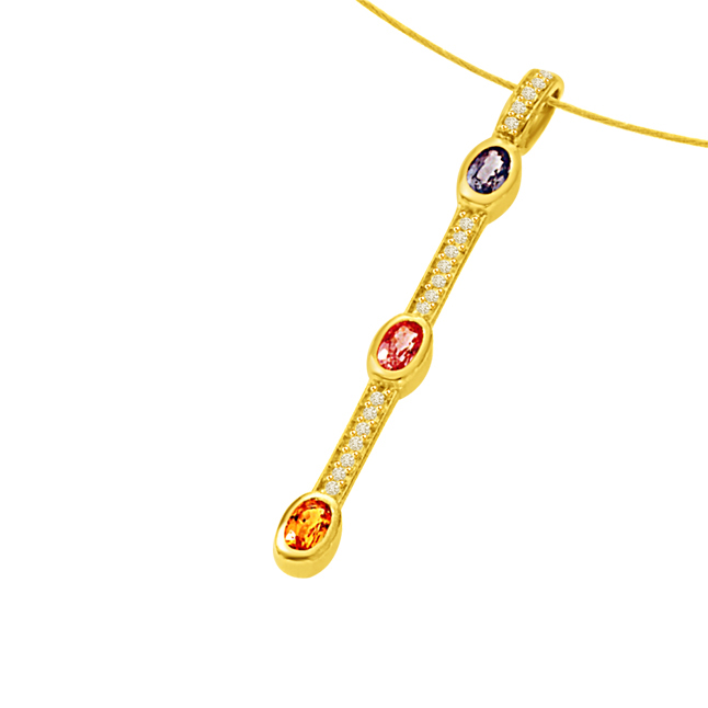 A Golden Stich Forever0.55ct Tcw Diamond Ruby Emerald & Sapphire Stick Shaped Long 18kt Pendants -Designer Pendants