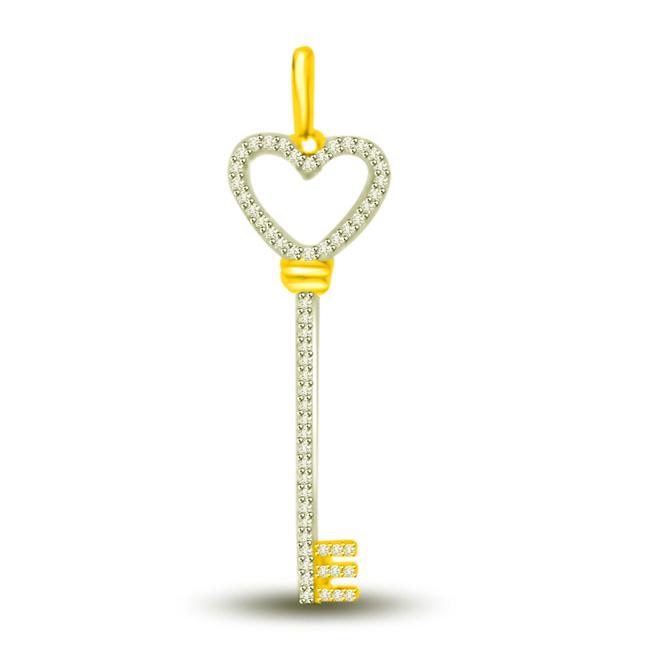 A Key to My Love….Diamond Two Tone Heart Pendants