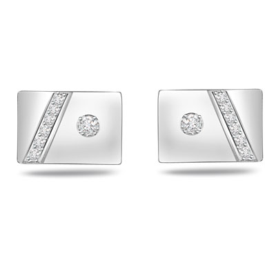A King's Closet -0.17ct VS Clarity Diamond Gold Cufflinks -For Men