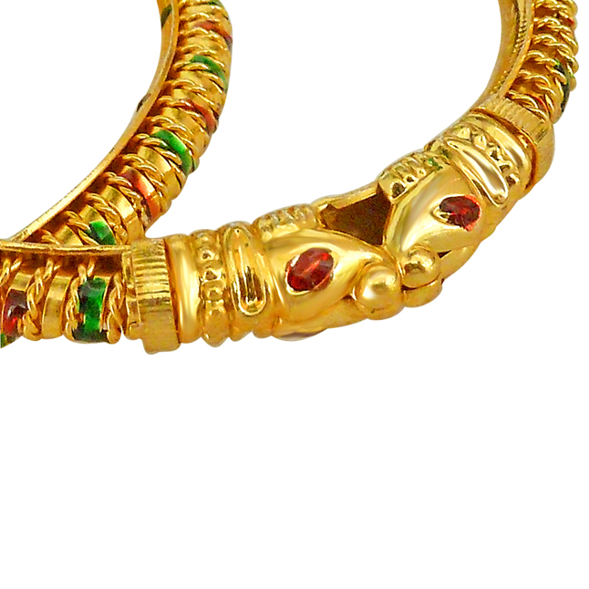 A Pair of Enamelled Lion faced 24 kt Gold Plated Bangles -Bangles -Kadas