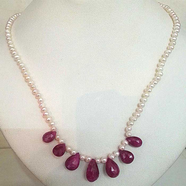 7 Faceted Drop RUby & Freshwater Pearl Necklace -Pearl Necklaces