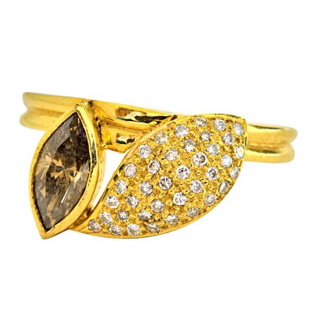 IGL Certified 0.97ct Brown Marquise & Round White G Diamond 18k Gold Engagement Wedding Ring