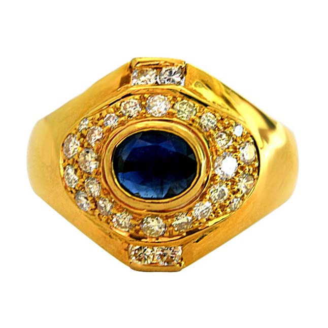 IGL Certified 1.23ct Diamond & Blue Sapphire 18k Gold Engagement Wedding Ring