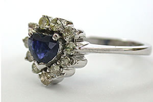 A blessing in blue -1.44 ct Diamond & Blue Sapphire Heart Shape rings -I Am Getting Engaged