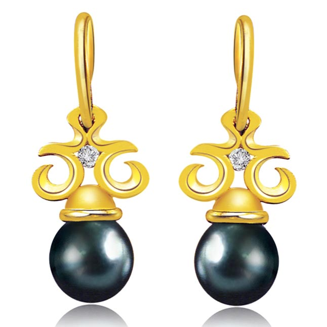 Added Bonus Pearl Real Diamond & Tahitian Pearl Earrings