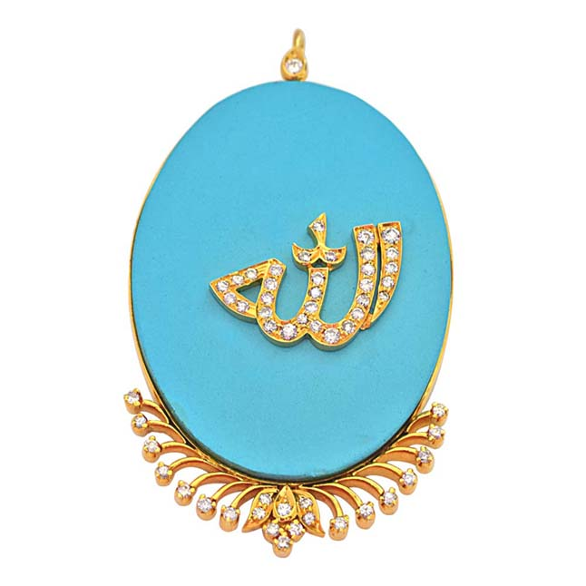 30.82 ct Diamond & Blue Turquoise 18k Gold Allah Pendants for Your Eternal Love