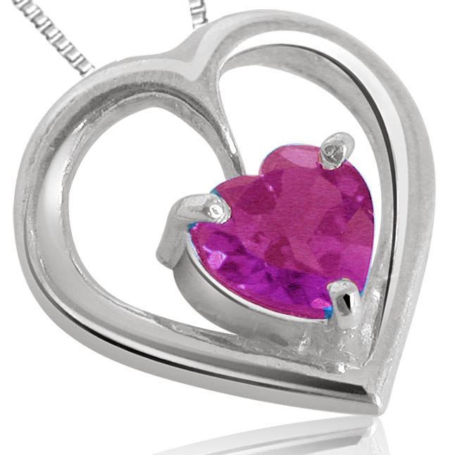 Amethyst Pendants In Silver Oval Heart Shape with chain -Gemstone Pendants
