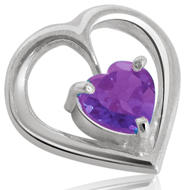 Heart Shape Purple Amethyst & Sterling Silver Pendant for Girls (SDS48)